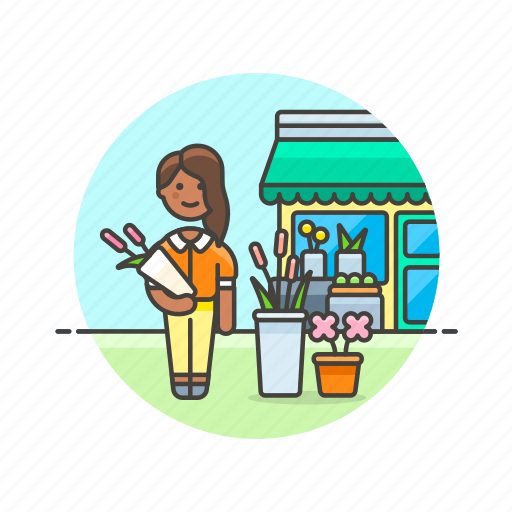 buy, florist, flower, romantic, shopping, store, woman icon