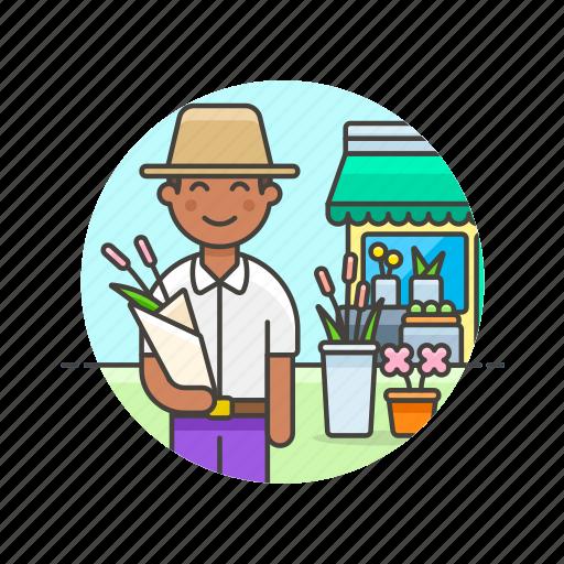 buy, florist, flower, man, romantic, shopping, store icon