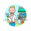 buy, florist, flower, man, romantic, shopping, store icon