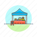 farmers, goods, market, shopping, store, street, tent icon