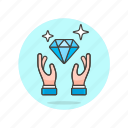 diamond, hand, jewelry, shopping icon