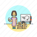 arrive, box, cargo, online, package, receipt, shopping, woman icon