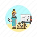 arrive, caucasian, female, online, package, shopping icon
