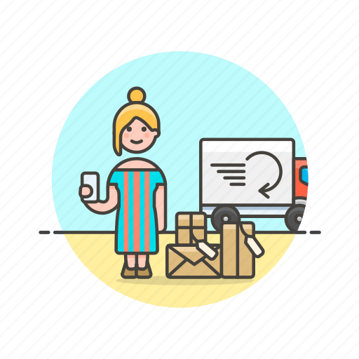 arrive, delivery, online, package, receipt, shopping, woman icon