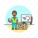 african, american, arrive, male, online, package, shopping icon