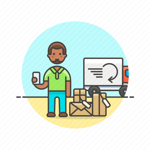 arrive, delivery, man, online, package, receipt, shopping icon