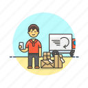 arrive, online, package, shopping, cargo, man, shippment icon