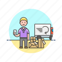 arrive, caucasian, male, online, package, shopping icon