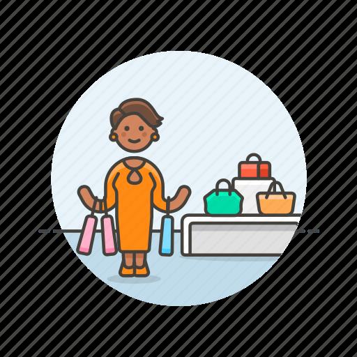 bag, buy, counter, display, shopping, store, woman icon