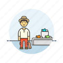buy, counter, display, footwear, man, shopping, store icon