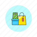 bag, box, buy, gift, label, shopping, store icon