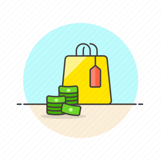 bag, cash, currency, label, money, pay, shopping icon