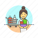 cart, shopping, bag, grocery, store, supermarket, woman icon