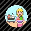 cart, shopping, basket, buy, store, supermarket, woman