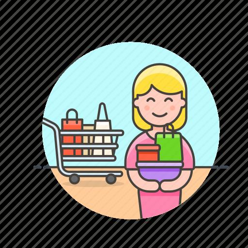 basket, buy, cart, shopping, store, supermarket, woman icon