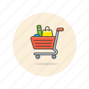 basket, buy, cart, full, shopping, supermarket icon