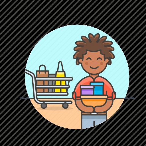basket, buy, cart, man, shopping, store, supermarket icon