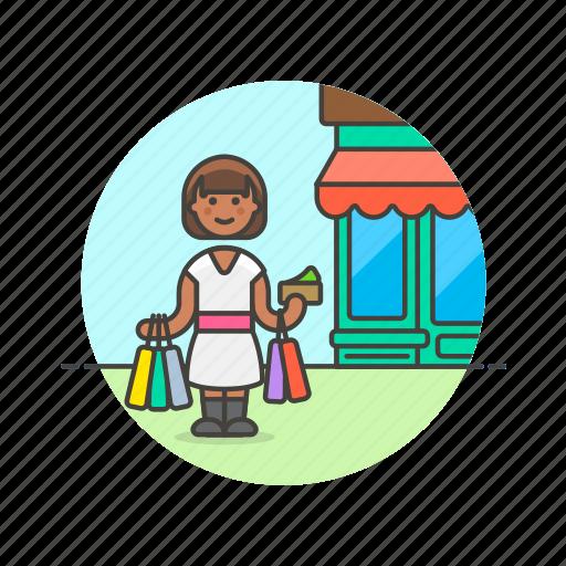 bag, buy, endless, shopping, spree, store, woman icon