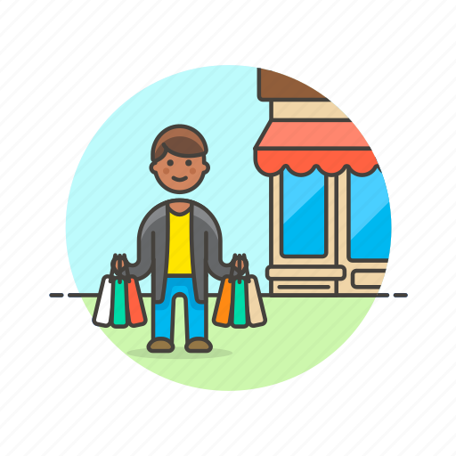 bag, buy, endless, man, shopping, spree, store icon
