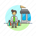 bag, buy, endless, man, shopping, spree, store icon