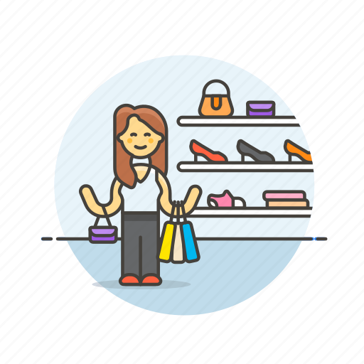display, mount, shoe, shopping, store, wall, woman icon
