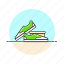 delivery, green, jog, run, shoewear, shopping, sneakers icon