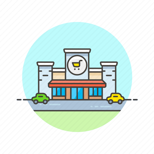 building, buy, cart, shopping, store, supermarket icon