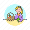 basket, cash, fruit, money, shopping, vegetable, woman icon