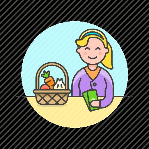 basket, cash, fruit, money, shopping, vegetable, woman icon