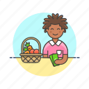 basket, buy, fruit, money, shopping, vegetable, woman icon