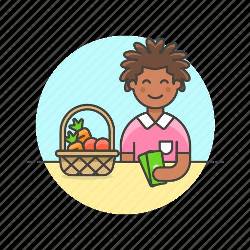 basket, buy, fruit, money, shopping, vegetable, woman icon