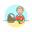 basket, fruit, man, money, pay, shopping, store, vegetable icon