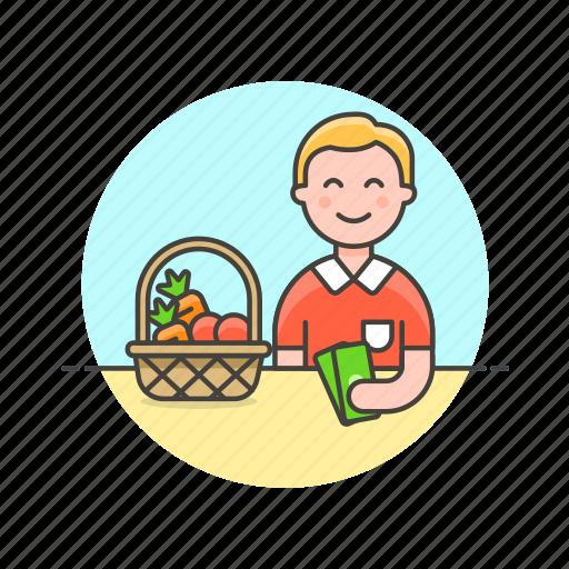 basket, fruit, man, money, pay, shopping, store, vegetable icon