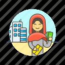 arab, building, buy, cash, money, shopping, woman icon