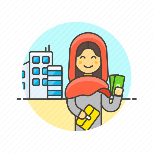 arab, building, buy, cash, money, shopping, woman icon