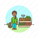 shopping, vegetable, basket, farmers, fruit, market, woman