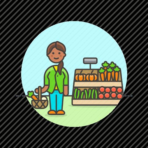 basket, farmers, fruit, market, shopping, vegetable, woman icon
