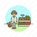 basket, farmers, fruit, market, shopping, vegetable, woman icon