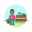 basket, farmers, fruit, man, market, shopping, vegetable icon