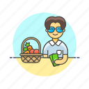 basket, buy, cash, fruit, man, money, shopping, vegetable icon