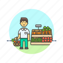 basket, buy, farmers, fruit, man, market, shopping, vegetable icon