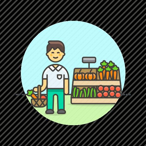 basket, buy, farmers, fruit, man, market, shopping, vegetable icon