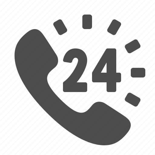 24/7, call centre, clock, customer support, handset, logistics, phone icon