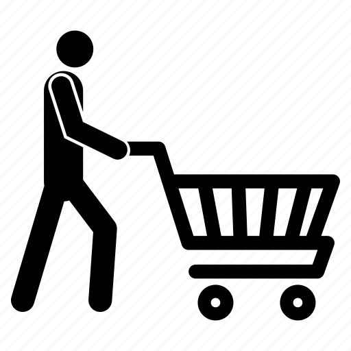 man with shopping cart, man with shopping trolley, shopping, shopping cart, shopping trolley icon