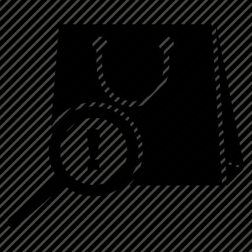 error, magnifier, magnifying, shopping, shopping bag icon