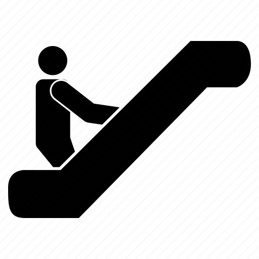 electric stairs, escalator, man on escalator, stairs icon