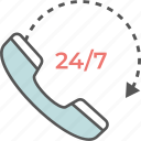 24/7, customer service, helpline, receiver, support icon icon