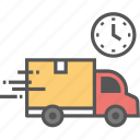 delivery duration, delivery scheduling, delivery time, logistic scheduling, on time delivery icon icon