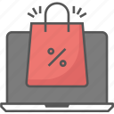 bag, commerce, discount, laptop, notebook, offer, sale icon, shopping, tote bag icon