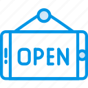 badge, business, open, shop, shopping icon